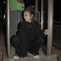 【LR1036】ZIPリブセットアップ(ブラック)