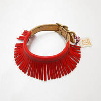 ikoyan for doggy/Garland Collar FLINGE  (Red) サイズ M