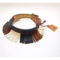 ikoyan for doggy/Garland Collar FLINGE(BLK×BRN×WHT)size M