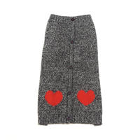Ware Of The Dog HEART CARDIGAN BLACK MELANGE/RED
