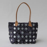 LEATHER  HANDLE  TOTE -BUBBLE FLOWER- (SILVER)