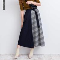【残りわずか】【DAYS】チェック配色フレアスカート  b0014