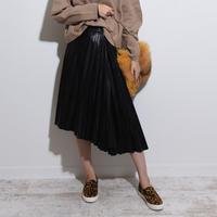 フェイクレザープリーツスカート    sk0001