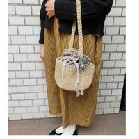 ラフィアとニットの編み上げ巾着バッグ*ベージュ