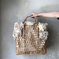 【限定1点もの】レース編みと竹のカゴバッグ*