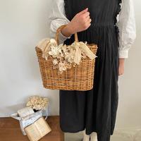 【Lilaf限定1点*】紅茶染めレースの籐のカゴバッグ*