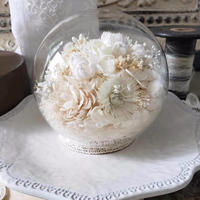 [限定]ふんわりお花のガラスドーム*ホワイト