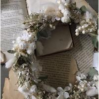 [限定]ドライフラワーと布花のリース(大)*ホワイト