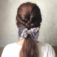 【Lilaf 限定】リボンとお花のヘアゴム* Gray