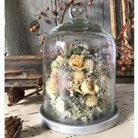 お花のガラスドーム(小)*ホワイト