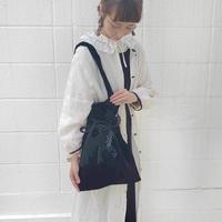 【限定】タッセル付きベロア巾着バッグ*Black