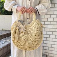 【Lilaf限定1点*】ペーパー素材の編み上げラウンドハンドバッグ*