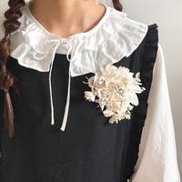 【Lilaf限定1点*】お花とリーフのコサージュ*ホワイト