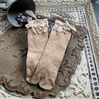 紅茶染フラワーレースの足袋ソックス*