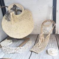 【Lilaf限定1点*】ラフィア素材の編み上げハンドバッグ* グレー
