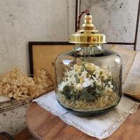【Lilaf 限定1点*】 flower bottle light (ボトルライト) ドライフラワー×布花入り*寸胴Medium