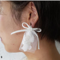 【Lilaf限定1点*】あじさいとチュールのピアス* White