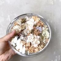 【限定一点】Lilaf クラッシックガラスとお花のアレンジメント  white