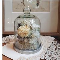 【限定1点】ふんわりお花のガラスドーム(小)*ホワイト