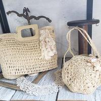 【Lilaf限定*】ラフィア素材の編み上げスクエアハンドバッグ*