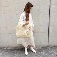 【Lilaf限定*】ペーパー素材の編み上げスクエアハンドバッグ*