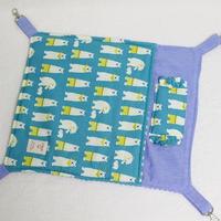 【オーダー】ナスカン付綿入り布団ハンモックMサイズ・綿入り寝袋Mサイズ しろくまブルー