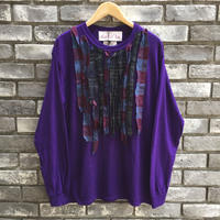 【dahl'ia × LILY】 Check Frill Long Sleeve Tee Purple 別注 ダリア ロンT