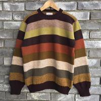 【Jamieson's】Crew Neck  Sweater Border Brown ジャミーソンズ クルーネック セーター ボーダー ニット