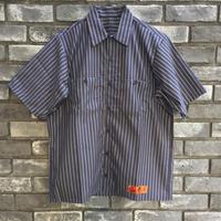 【RED KAP】 Industrial Stripe Work Shirts Khaki レッドキャップ インダストリアル ストライプ ワークヘム シャツ