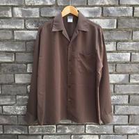 【CalTop】 Open Collar LS Shirt Brown カルトップ オープンカラーシャツ