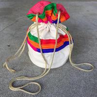 【DIR 69】 Multi Colored Stripe Embroidered Drawstring Bag Multi