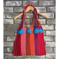 【JUBEL】 Handwoven Striped Tassels Tote
