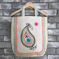 【LILYyoyogiuehara】 Embroidered Tote Bag Big Round bottom