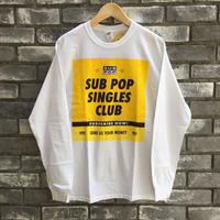 "【SUB POP】 ""SINGLES CLUB"" LS TEE White サブポップ  シングルスクラブ"