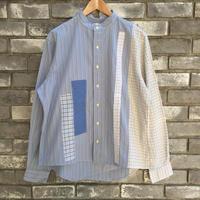 【yoused】 No Collar Big Shirt Patchwork Mサイズ ユーズド リメイク パッチワーク シャツ