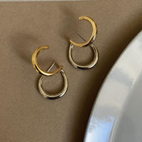 combi color double  hoop earcuff pierce (silver925 stud)