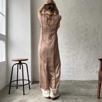 ♢予約販売♢Link original パイピングシアーサテンops/pink brown_ld0105