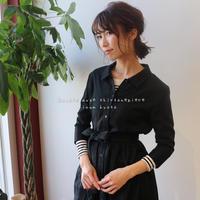 ふわふわダブルガーゼで魅せる、2wayリボンギャザーデザインシャツワンピース(ブラック)