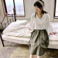 【受注生産】綿麻コットンリネンのサイドファスナータックフレアスカート(オリーブ)