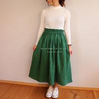 【フリーサイズ】ダブルガーゼで魅せる、ウエストゴムのふんわりギャザースカート(アイビー)