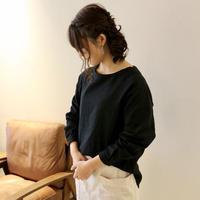 【受注生産】ふんわりダブルガーゼのシンプルなカフス仕様のプルオーバーブラウス(ブラック)