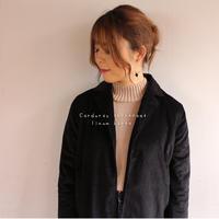 しっかり厚手太うねコーデュロイで魅せる、さくっと羽織り前開きオータムコート(ブラック)
