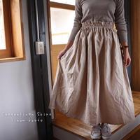 【Fサイズ】しっかりコットンリネンで魅せる、ウエストゴムのロングギャザースカート(綿麻クリームベージュ)