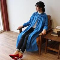 【受注生産】立体裁断で魅せる、こだわり抜いたバックタックデザインシャツワンピース(ふわふわダブルガーゼ・ダックブルーカラー)
