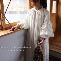 ○心地良く優しいリネン服○くったりベルギーリネンで魅せる、ボリュームいっぱい袖のギャザーシャツワンピース (ホワイト)