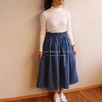 【フリーサイズ】ダブルガーゼで魅せる、ウエストゴムのふんわりギャザースカート(アクアグレー)