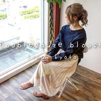 【全5色】ゆるふわダブルガーゼで魅せる、シンプルなカフス仕様のプルオーバーブラウス(ナイトネイビー)