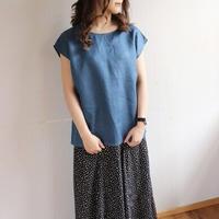 【リネンブラウス】全11色 カラーリネンフレンチスリーブバックタックブラウス リネンTシャツ ブルー