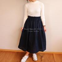 【フリーサイズ】ダブルガーゼで魅せる、ウエストゴムのふんわりギャザースカート(ナイトネイビー)