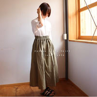 【丈85センチ・変更可 】しっかりコットンリネンで魅せる、ウエストゴムのロングギャザースカート(オリーブグリーン)